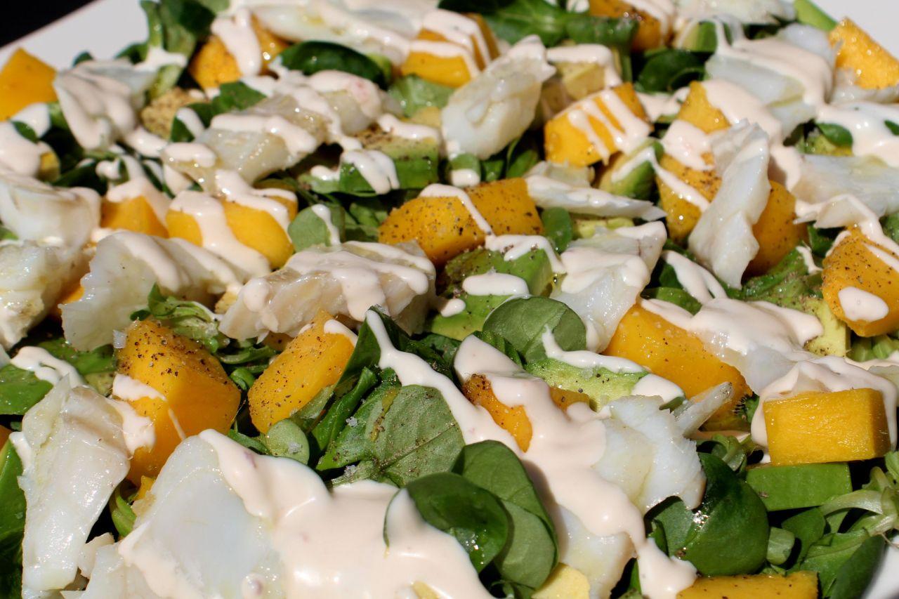 Ensalada de Skrei, Canónigos,Mango…