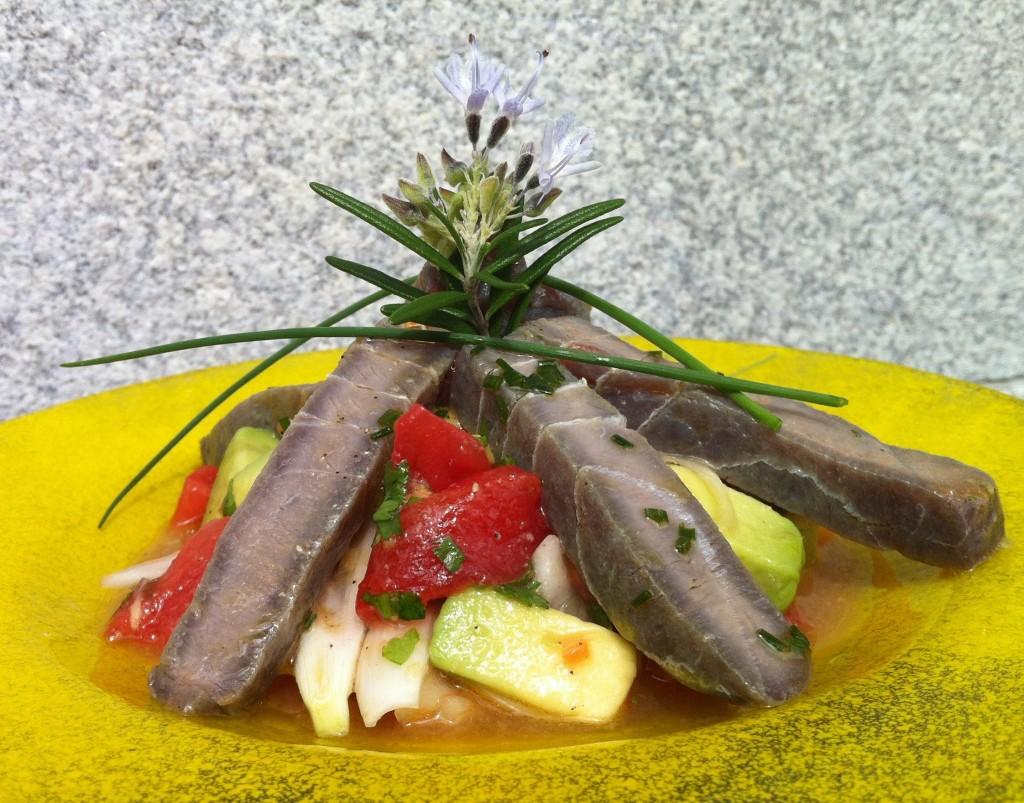 Cebiche de atún rojo y sandia