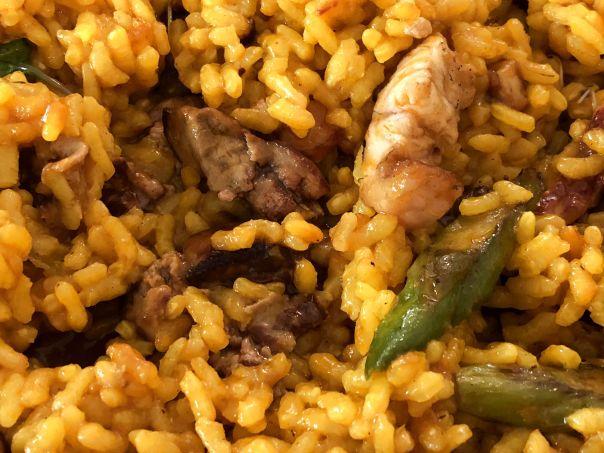 arroz con sidra, anguila ahumada y foie