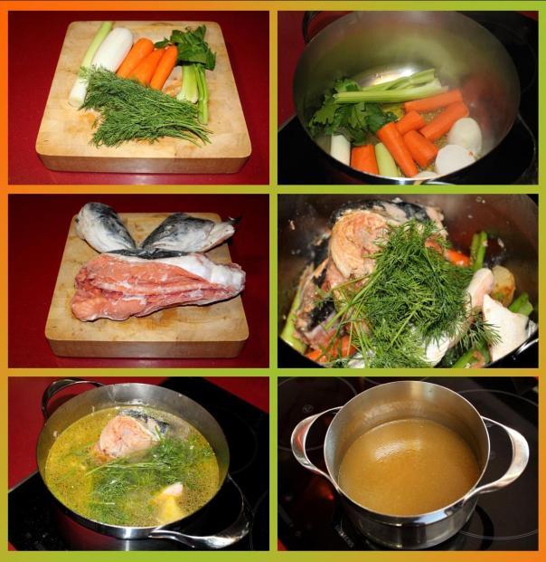 caldo de salmón y eneldo