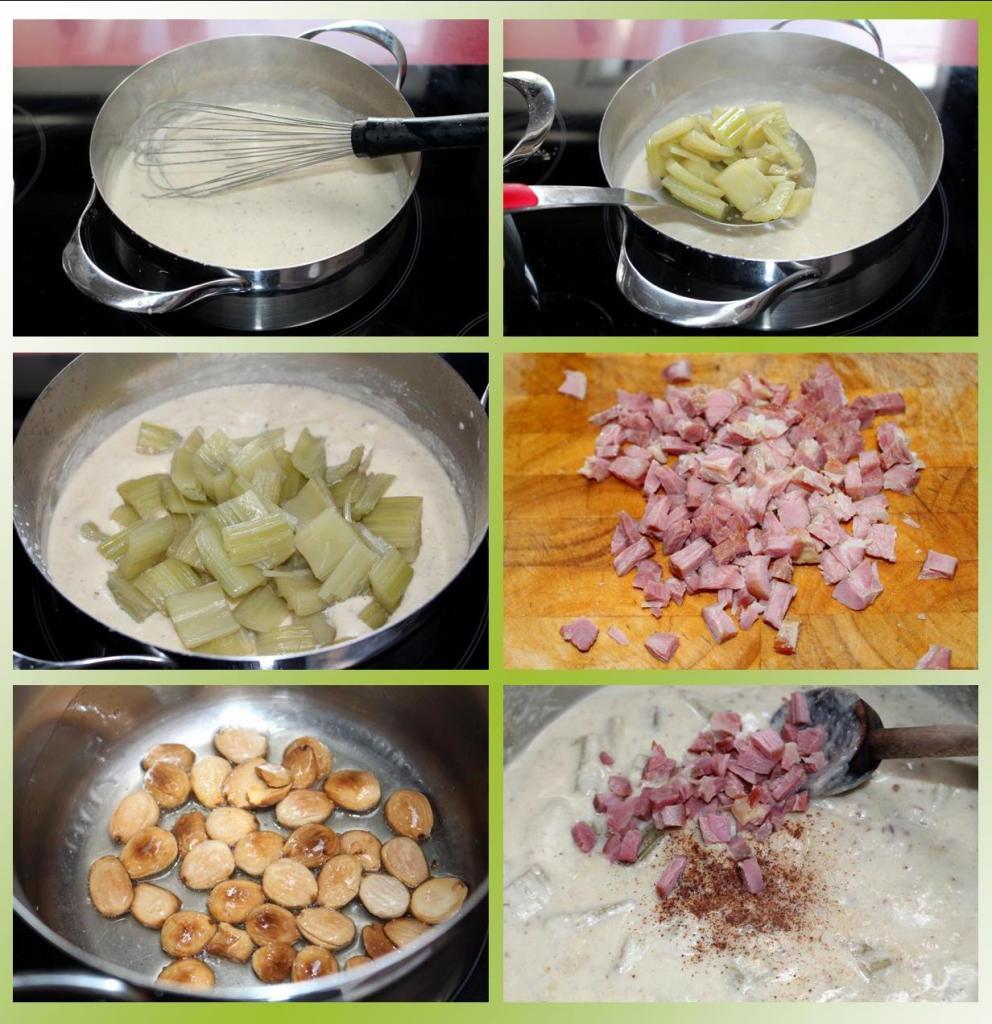 Cardos con salsa de almendras y jamón