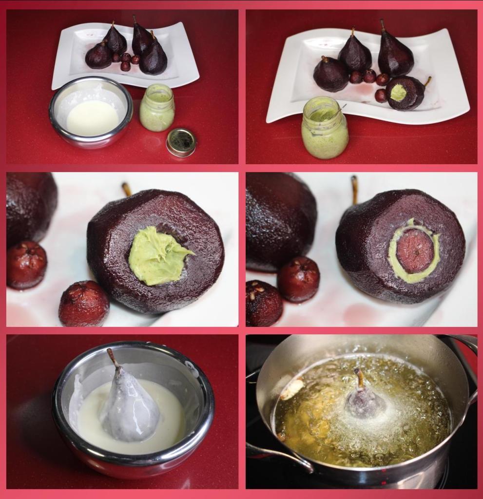 peras rellenas en tempura