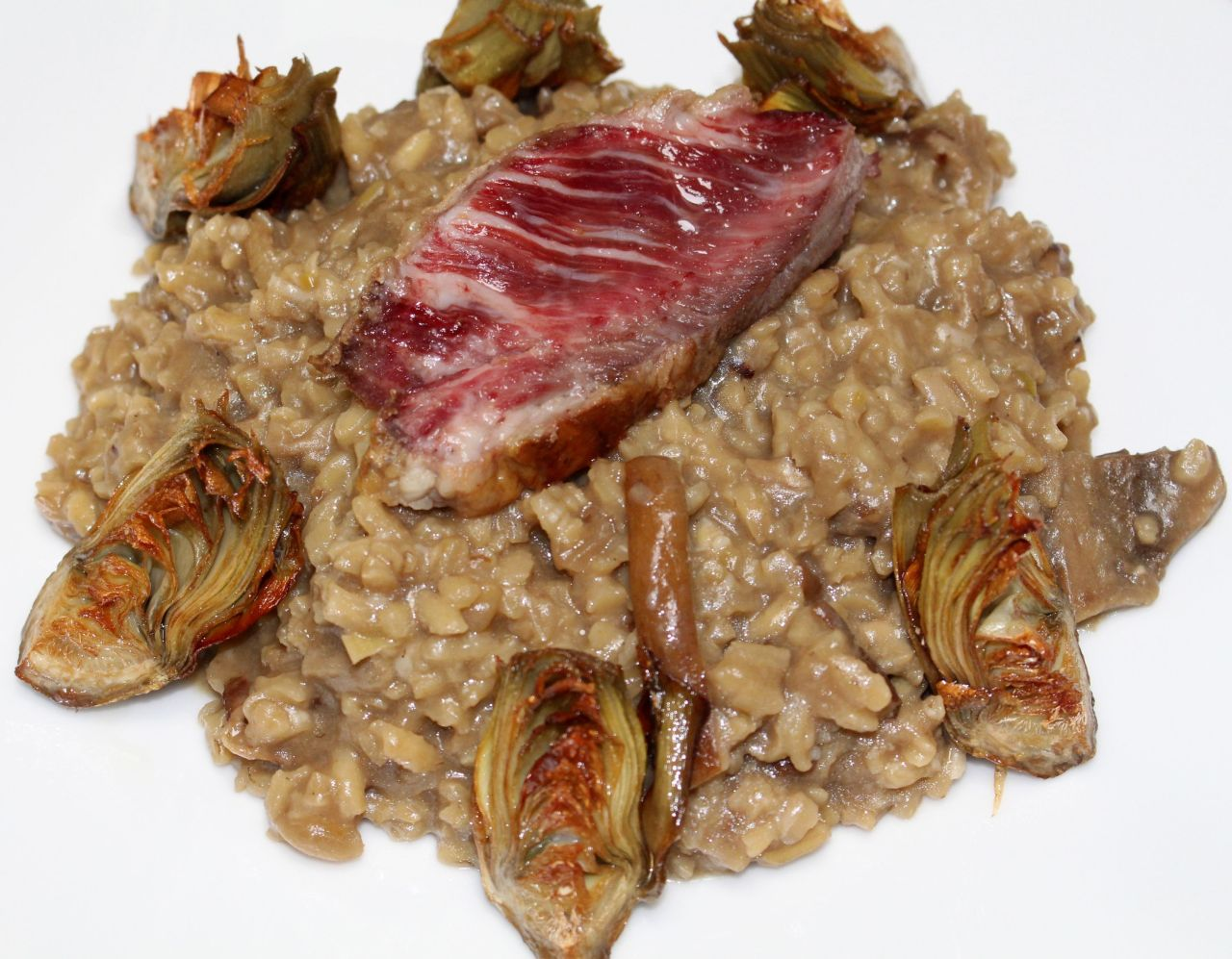 Risotto con Boletus, Presa Ibérica yAlcachofas