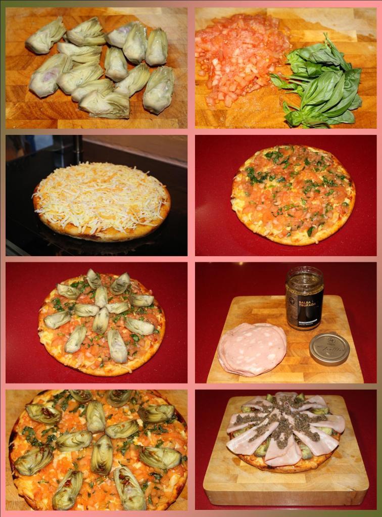 Pizza de mortadella y alcachofas trufada
