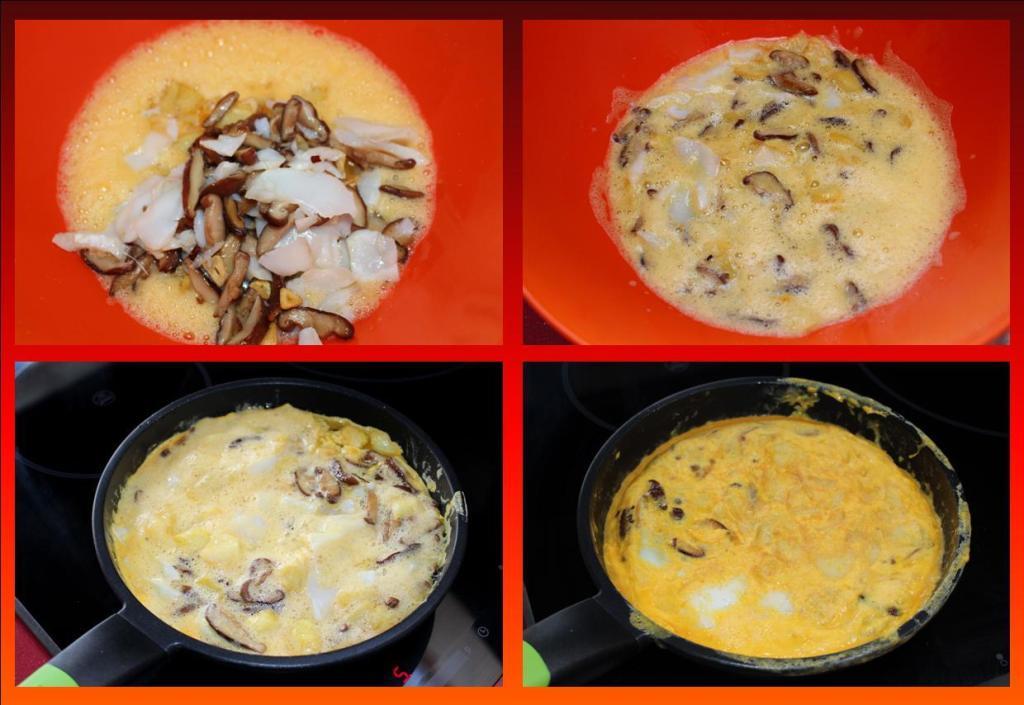 Tortilla de patatas, bacalao y setas