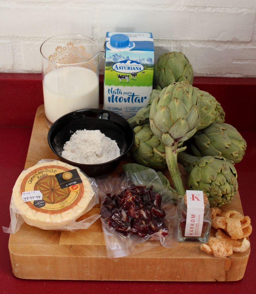 Alcachofas rellenas al azafrán y queso Casín