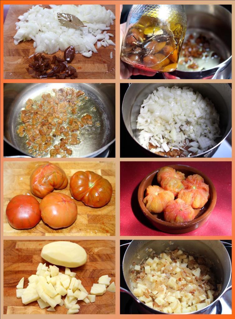 Sopa de ajos, cebolla y tomate