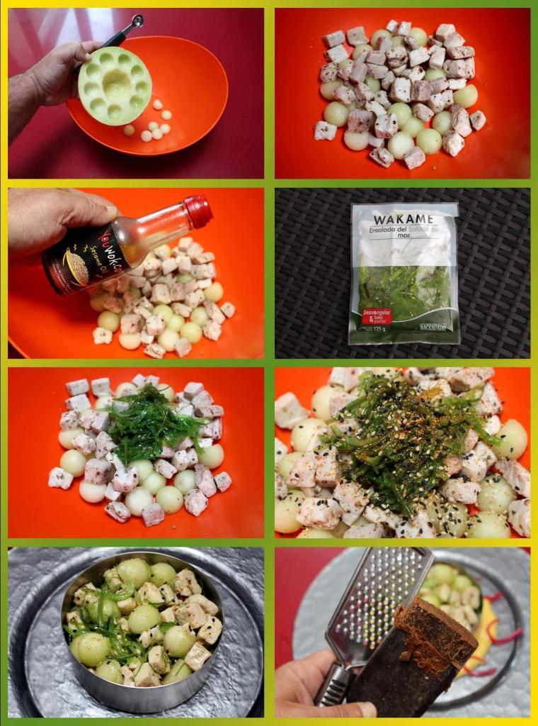 Ensalada de bonito, melón, wakame y emulsión de ají amarillo