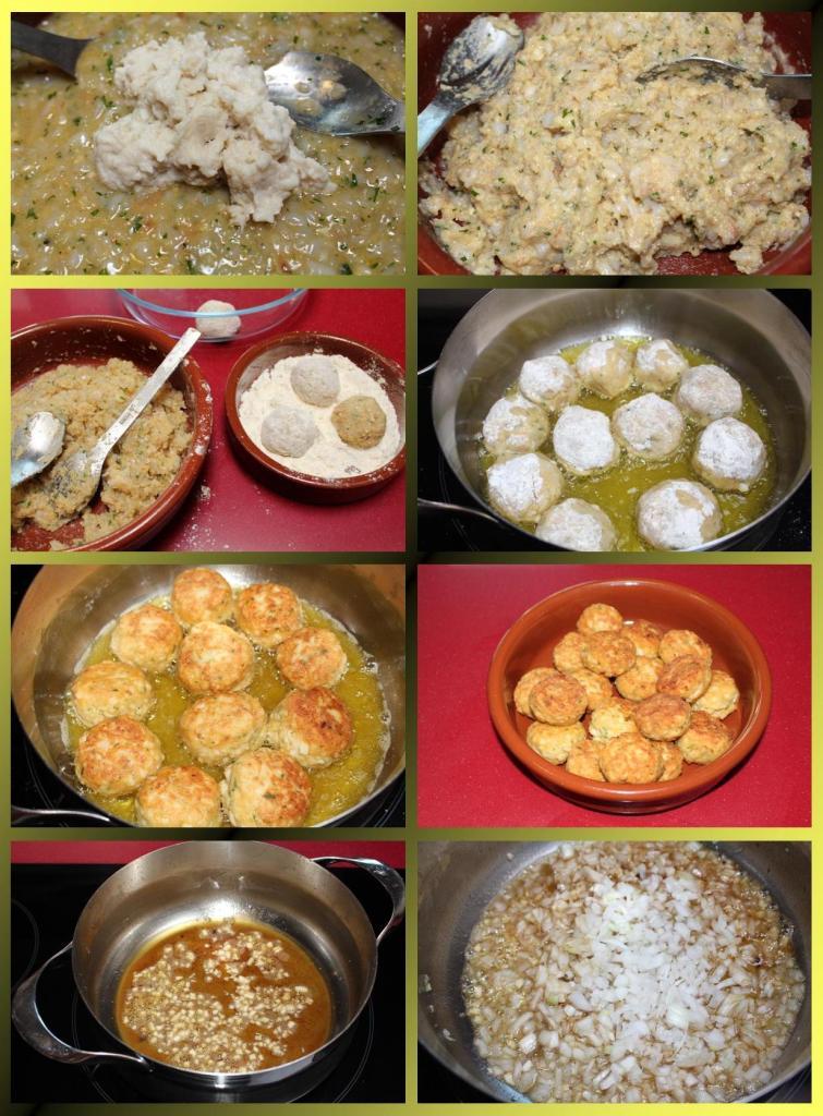 Albóndigas de chipirón y langostinos