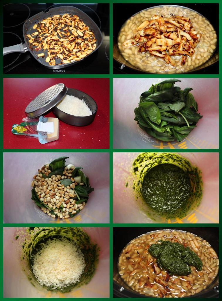 Verdinas con Sepia y Pesto