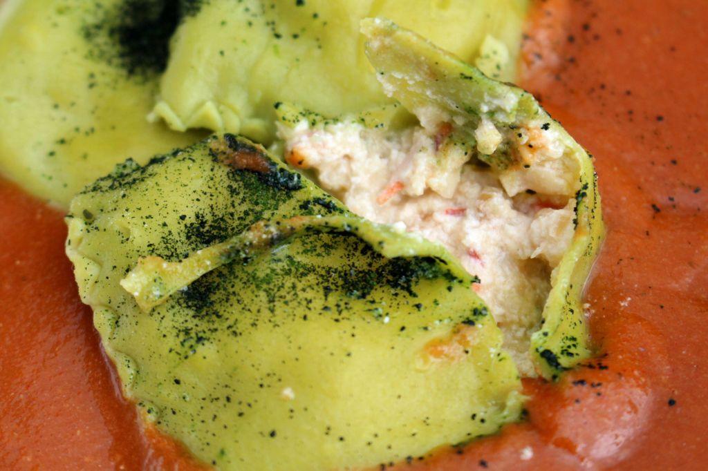 Raviolis de Plancton con Ricotta y Langostinos