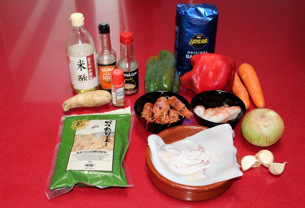 Wok de Verduras, Calamar y Gambones