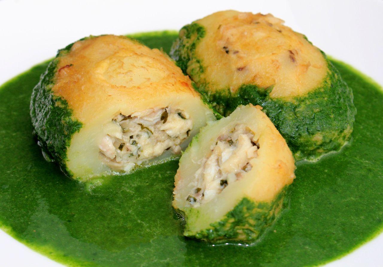 Patatas Rellenas de Rodaballo con Crema deEspinacas