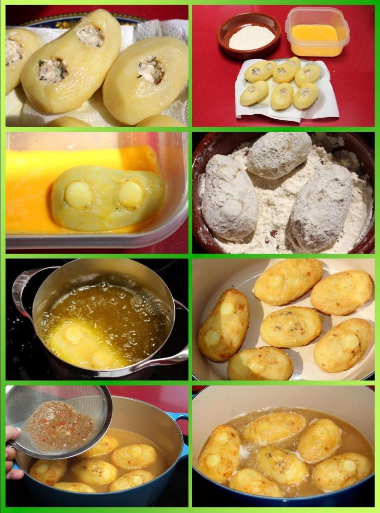 Patatas Rellenas con Rodaballo y Crema de Espinacas