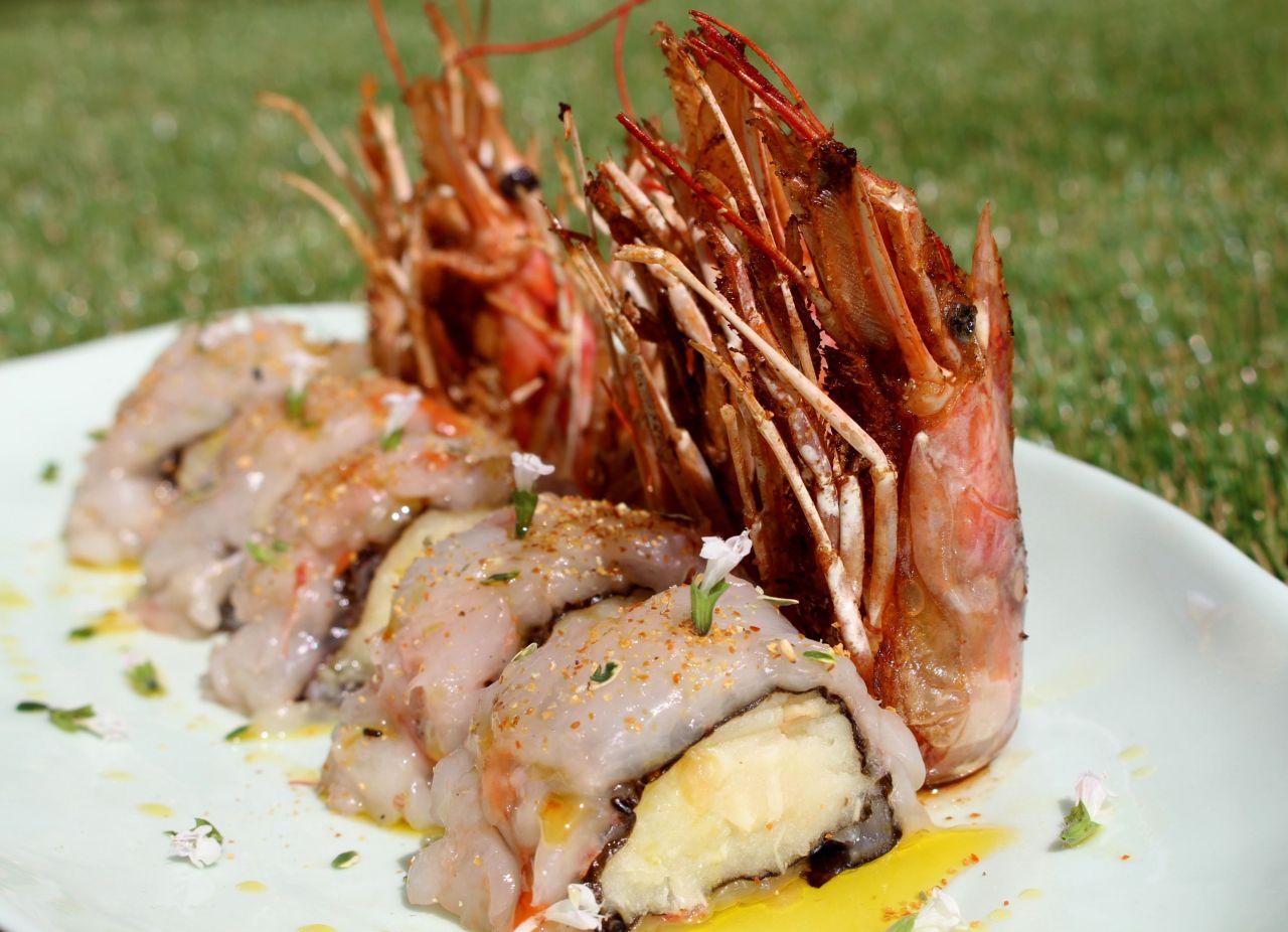 Sushi de Patata con Ajo Asado yLangostinos