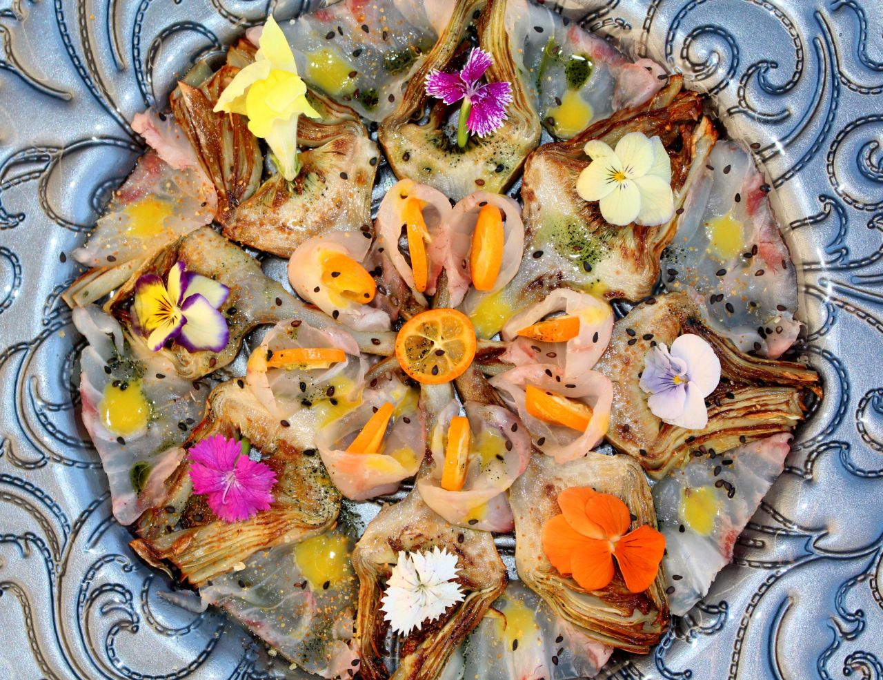 Sashimi de Alcachofa yCorvina