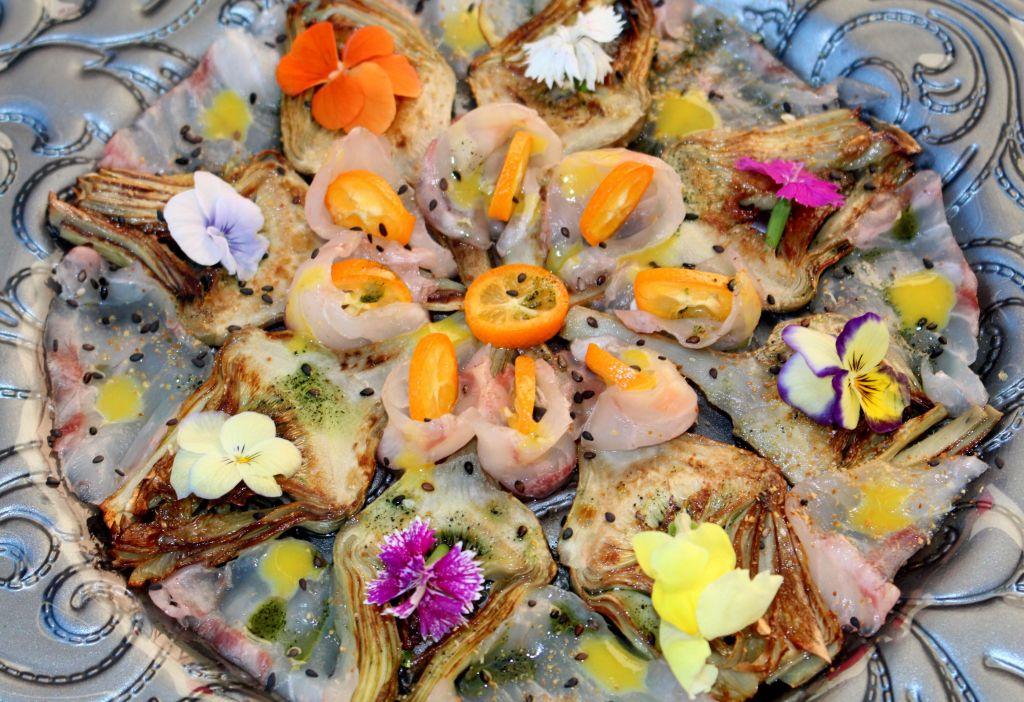 Sashimi de Alcachofa y Corvina