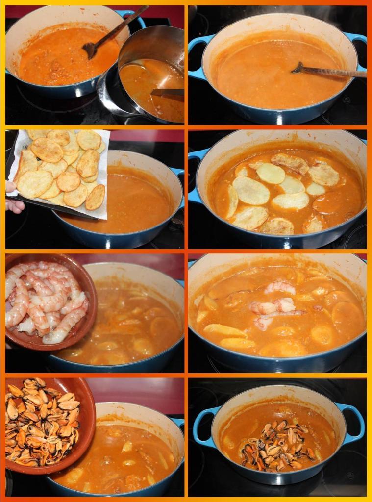 Mejillones y Gambones en Salsa de Ají Panca