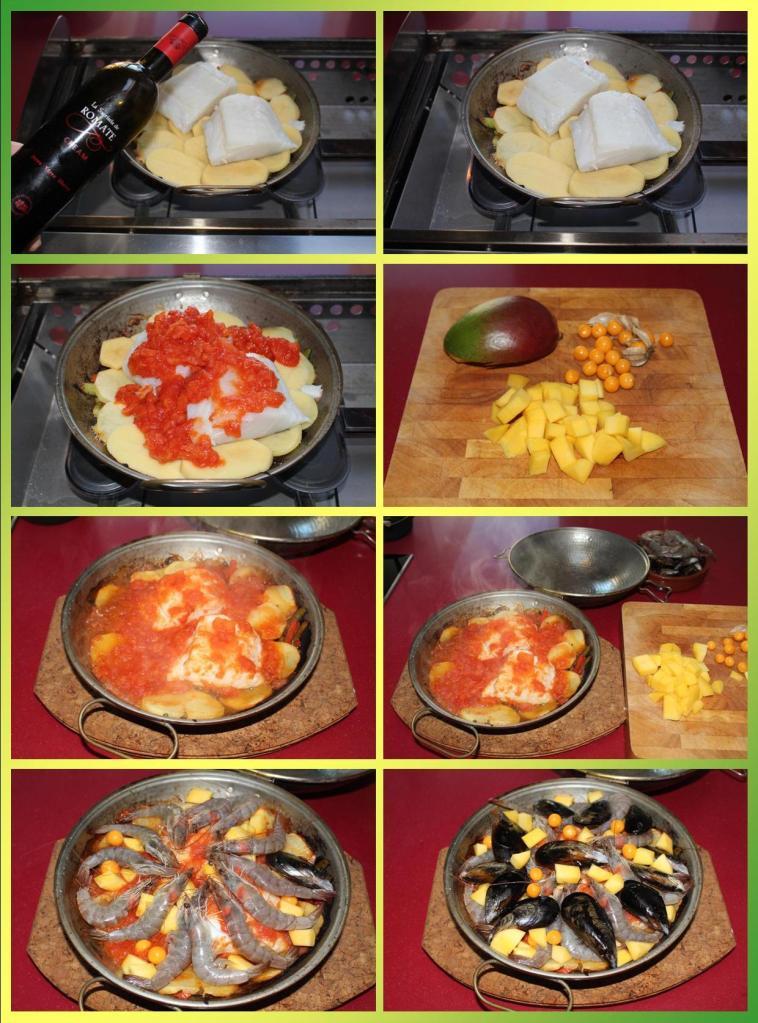 Cataplana de Bacalao, Mango, Physalis y Marisco