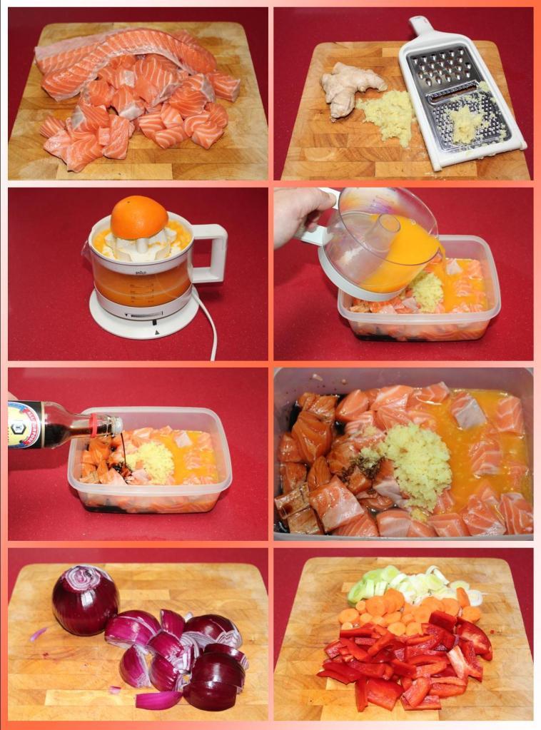 Wok de Salmón, Cítricos y Verduras
