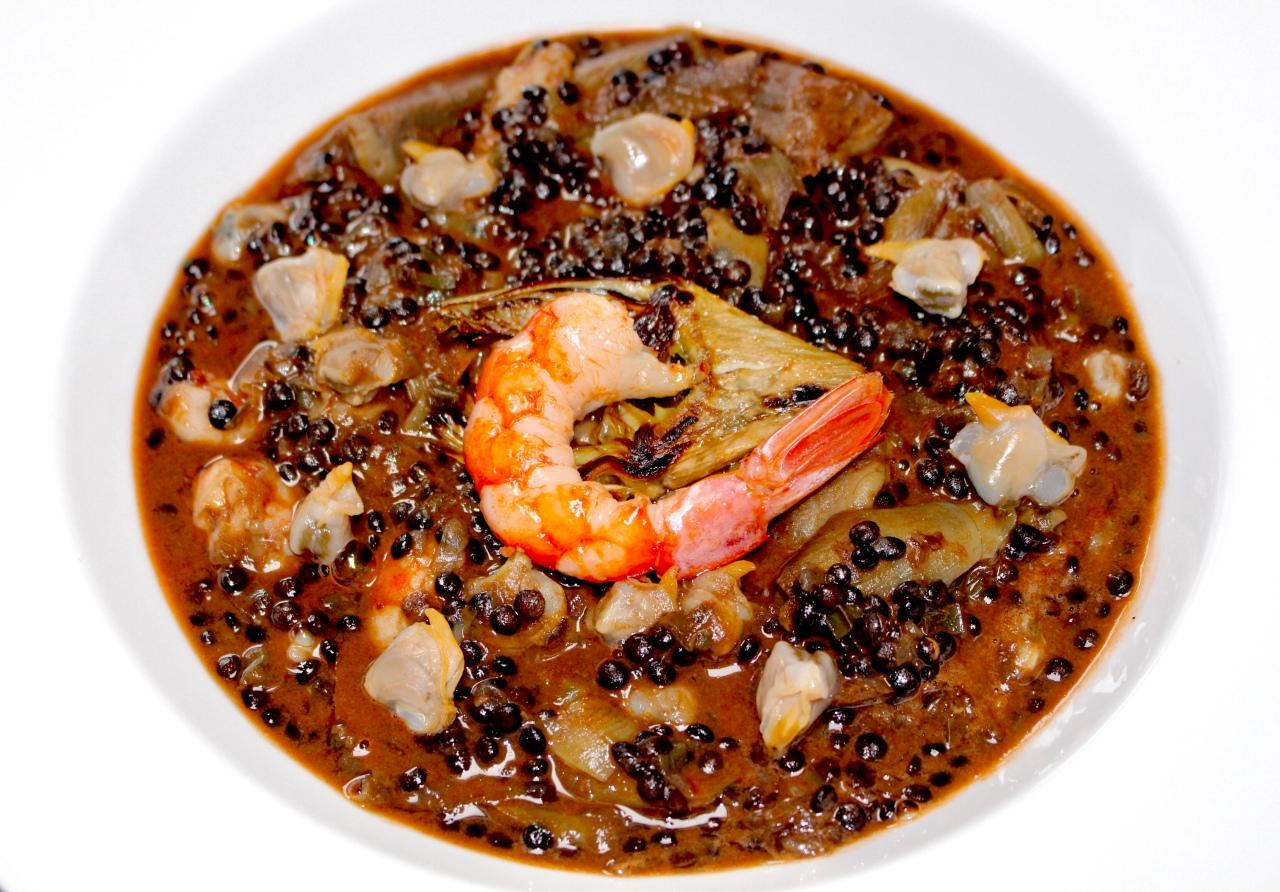 Lentejas Caviar con Alcachofa, Gambón yBerberecho