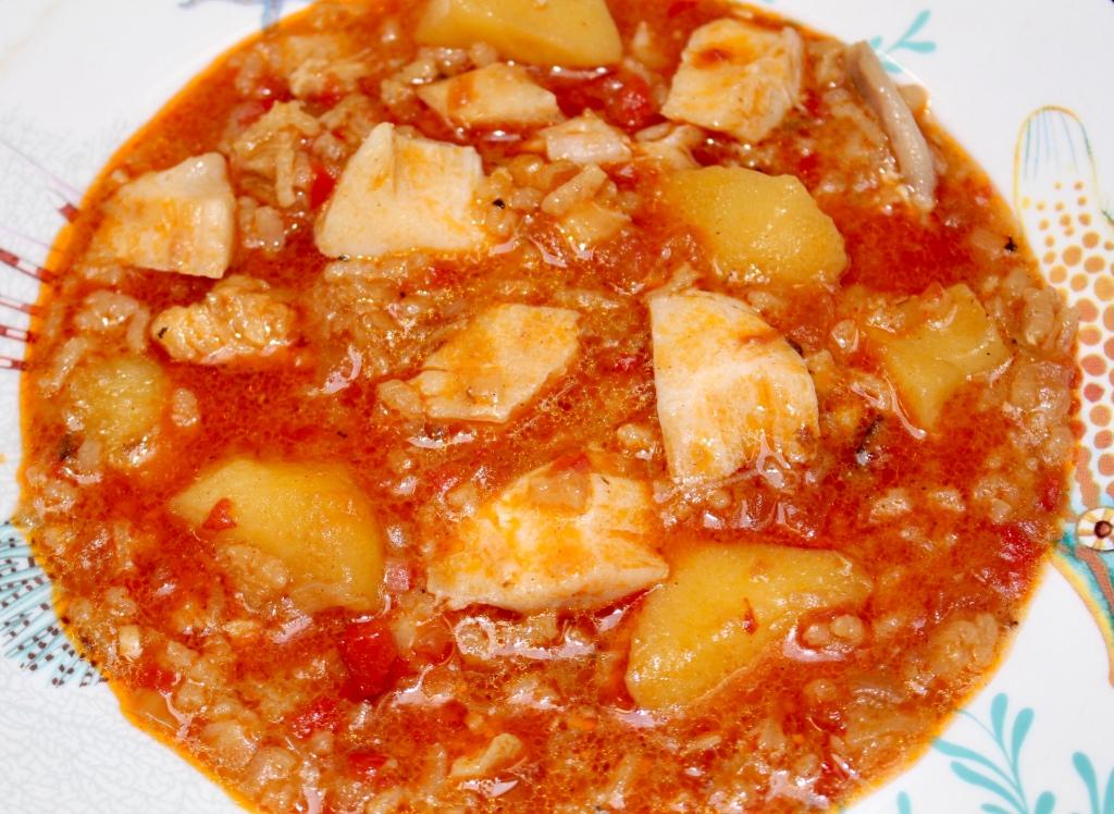 Guiso de Patatas y Arroz con Bacalao